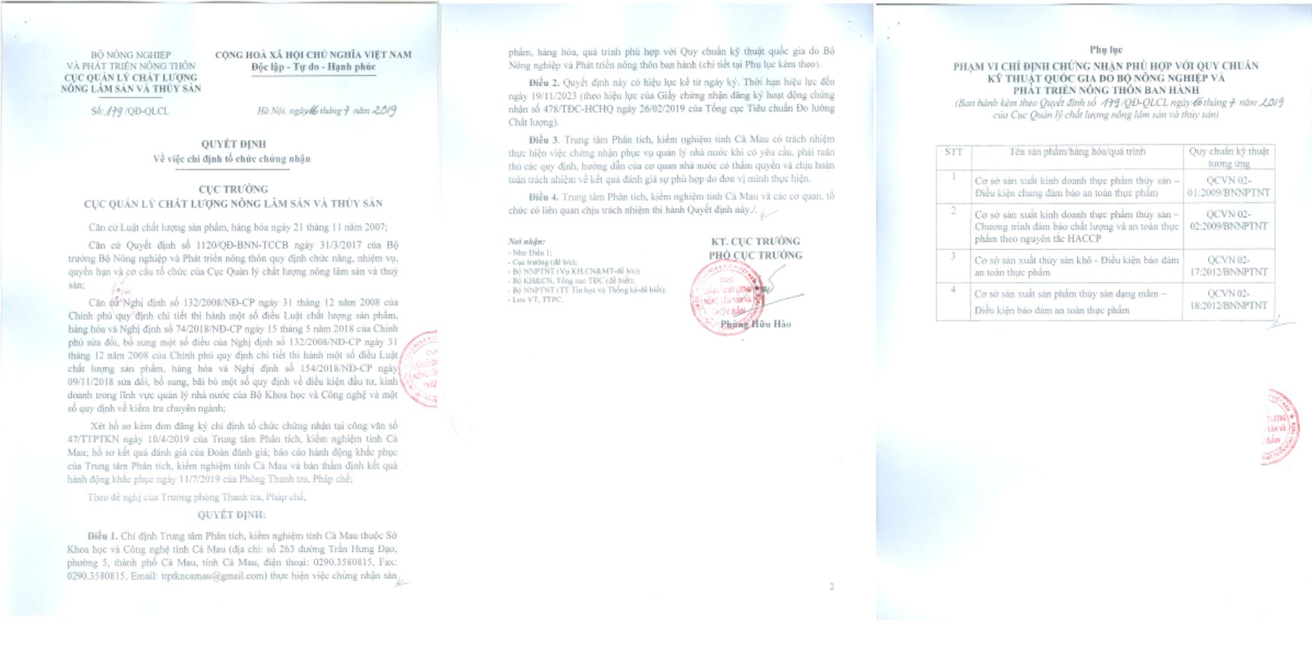 Quyết định của Cục Quản lý Chất lượng nông lâm sản và thủy sản chỉ định Trung tâm Phân tích, kiểm nghiệm chứng nhận hợp quy